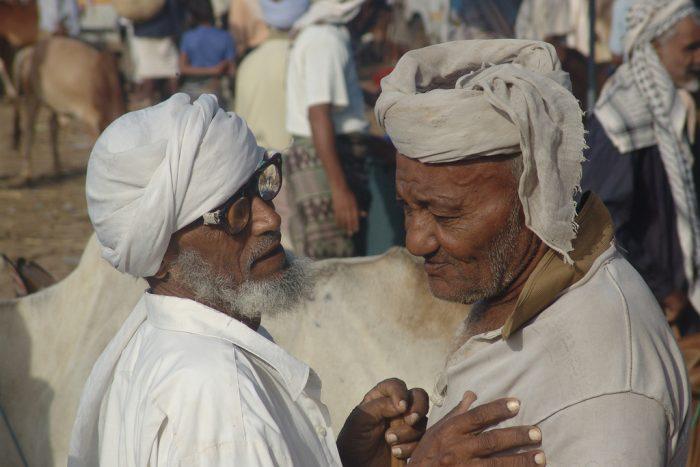 Yemeni men deep in conversation